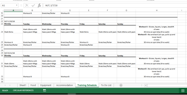 Training schedule screenshot